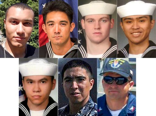 This combination of updated photos released Monday, June 19, 2017, by the U.S. Navy shows the seven U.S. sailors who died in a collision between the USS Fitzgerald and a container ship off Japan on Saturday, June 17, 2017. (U.S. Navy via AP)